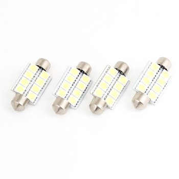 TOYL Balta 38mm 8 LED 5050 SMD Girlianda Lemputės 4pcs Automobilių Kupolo Žibintas